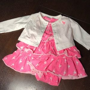 baby dress with matching cardigan